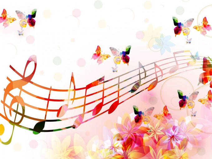 Musical Notes Butterflies Ppt Styles PPT Backgrounds