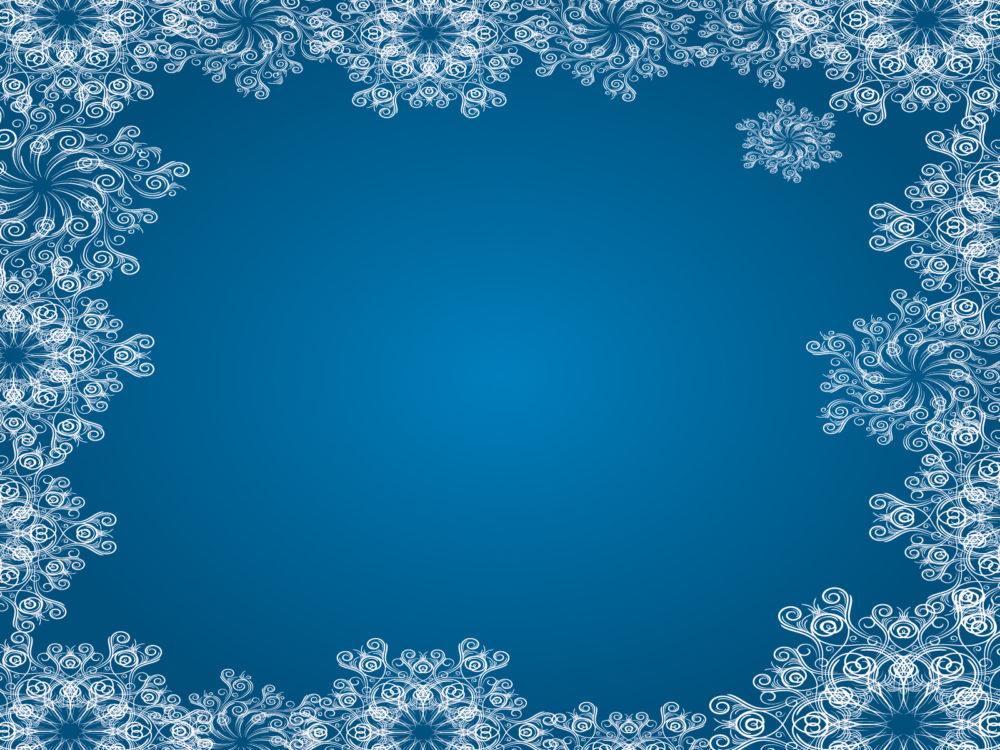 blue snowflake frames ppt backgrounds blue border