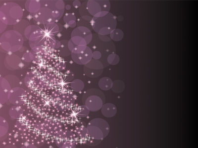 Purple Christmas Tree Powerpoint Templates