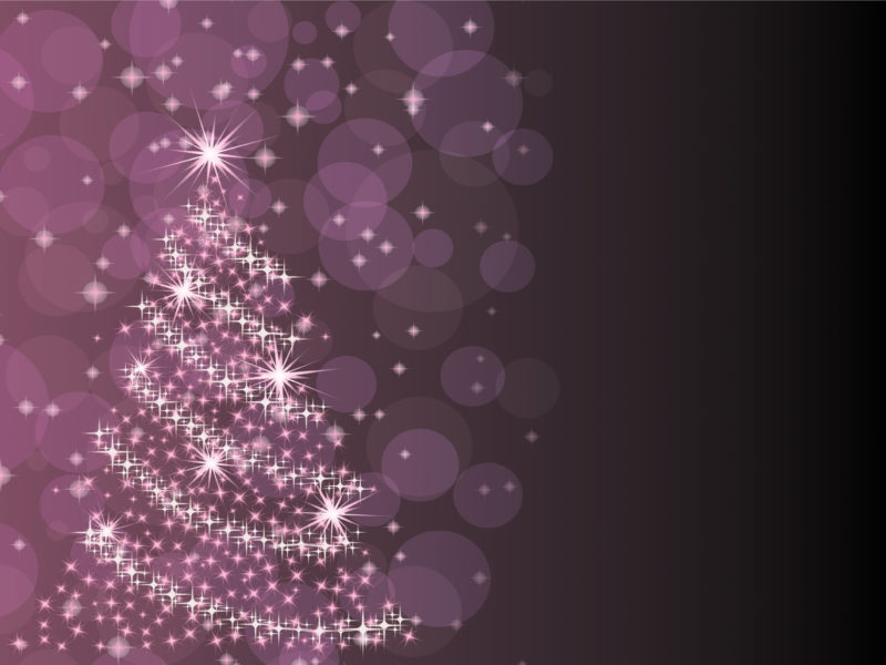 Purple Christmas Tree Powerpoint Templates