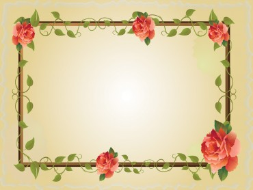 Red rose flower frame