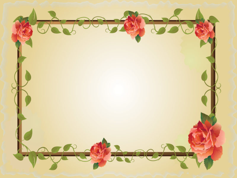 Red rose flower frame ppt backgrounds