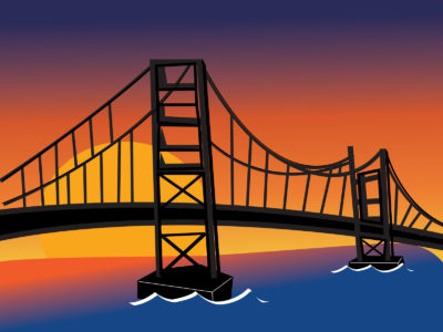 River and Bridge Art Powerpoint Template