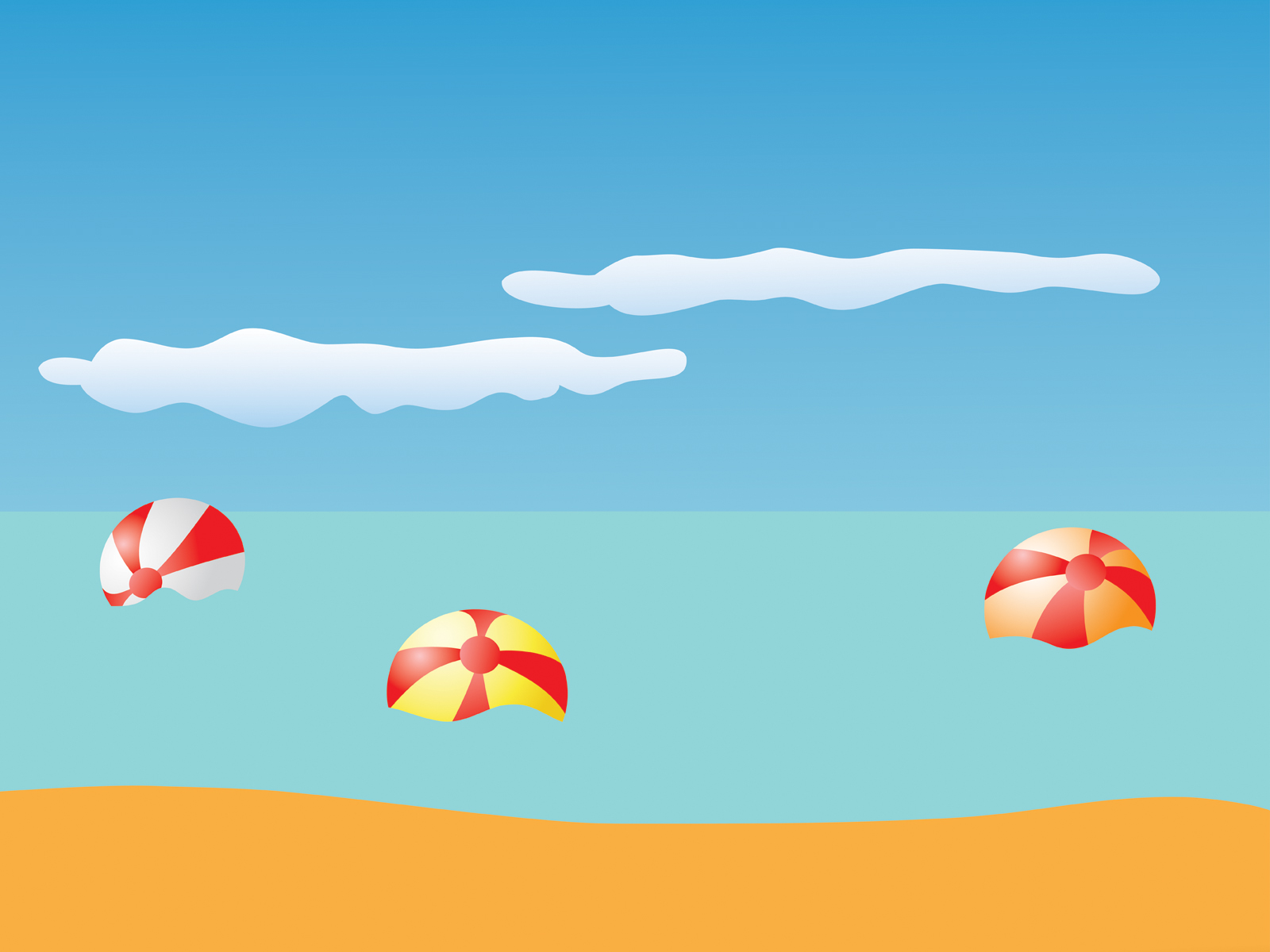 summer beach and balls ppt backgrounds - holiday, nature, travel, Modern powerpoint