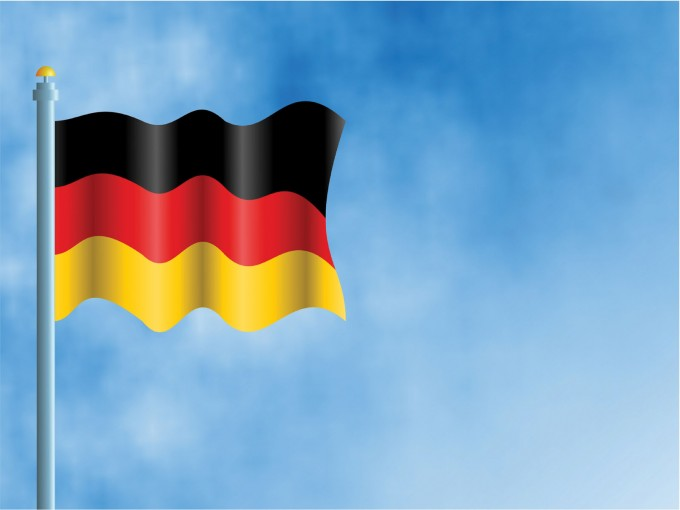 German flag on Sky PPT Backgrounds
