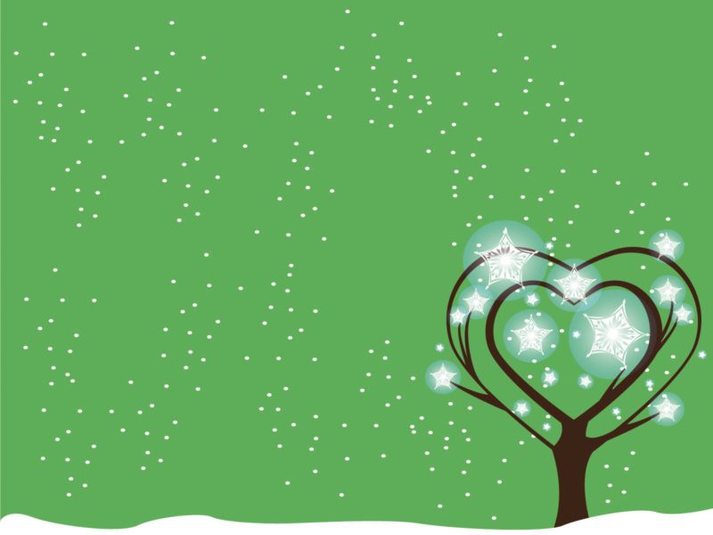Green Tree Snow Powerpoint Backgrounds