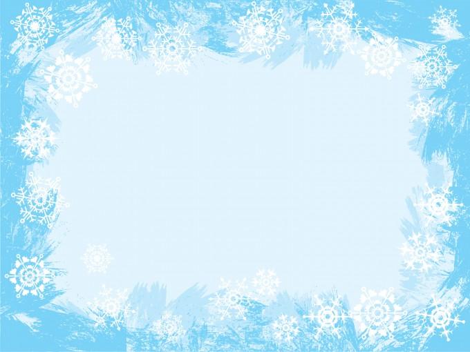 Light Blue Snowflake Frame PPT Backgrounds