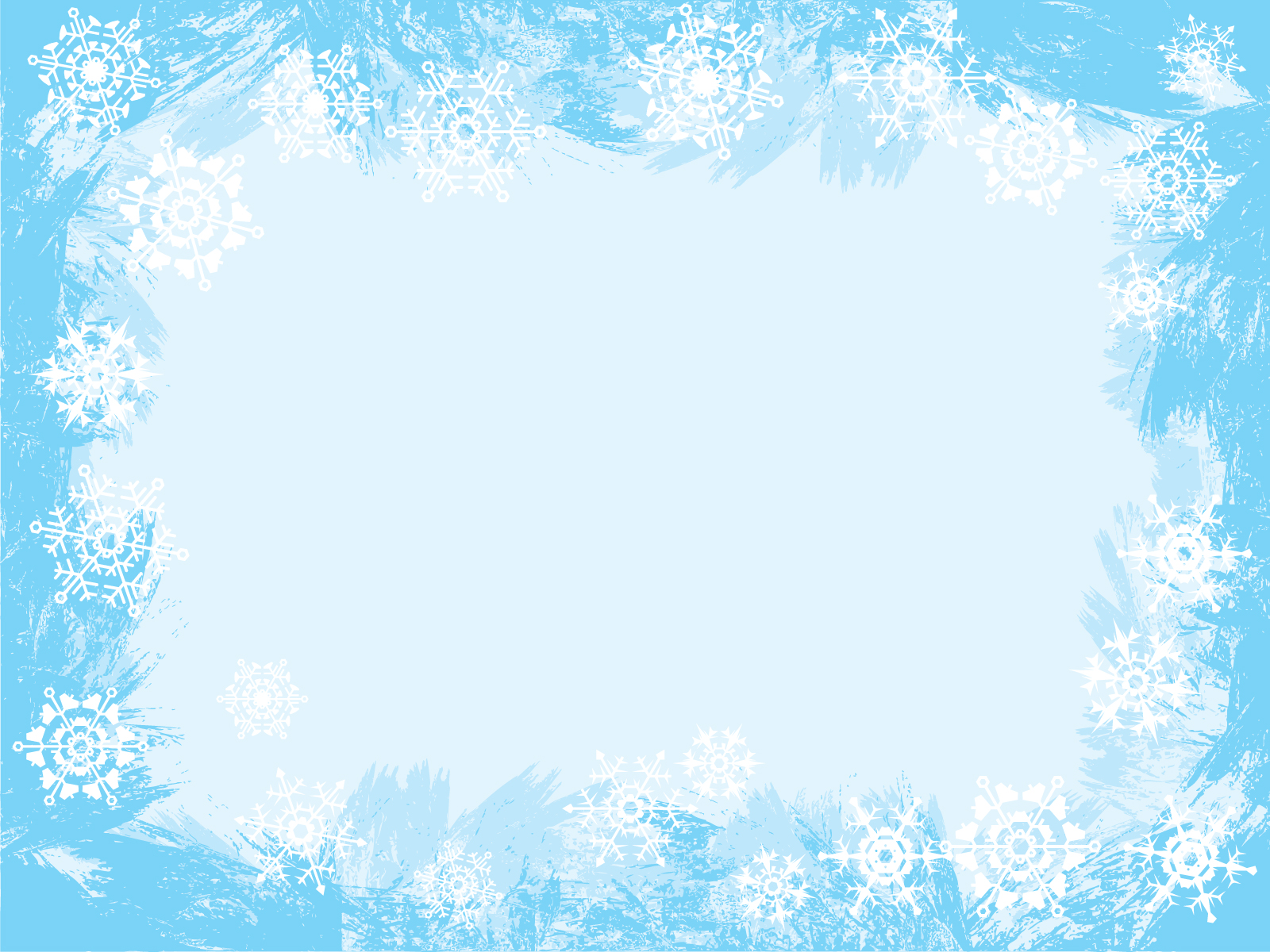 Light blue snowflake frame backgrounds border