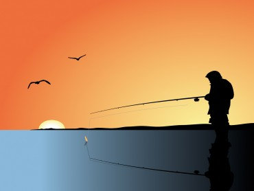 Fishing Man Powerpoint Slide