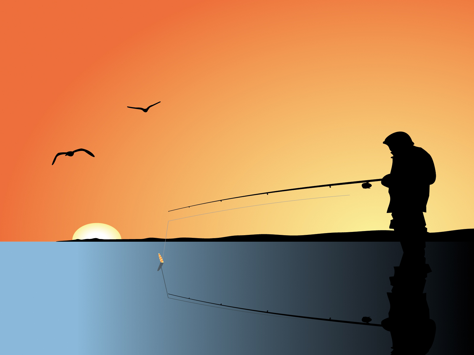 fishing man backgrounds black orange powerpoint