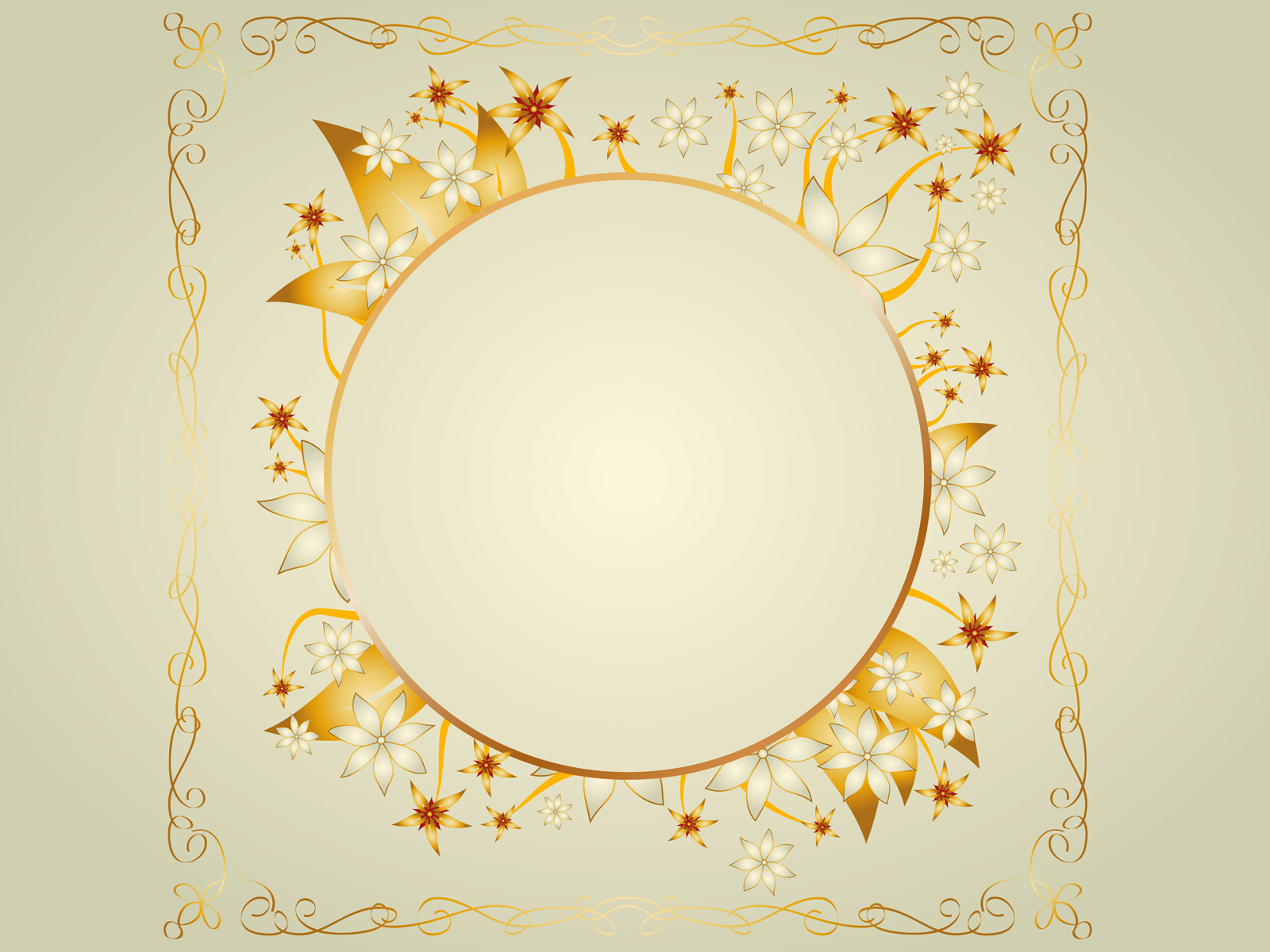 Gold frame design ppt backgrounds