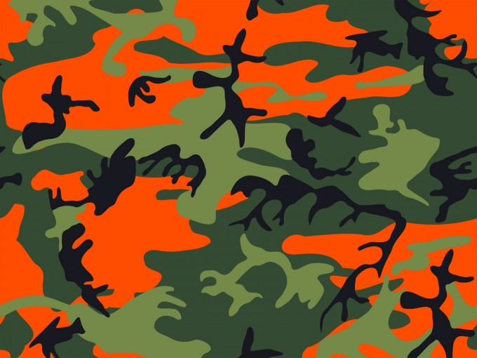 Hunter Orange – Army Print Camouflage PPT Backgrounds