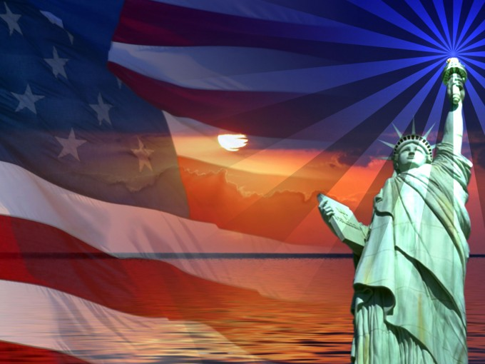 Patriotic Flag Sunset Statue of Liberty PPT Backgrounds