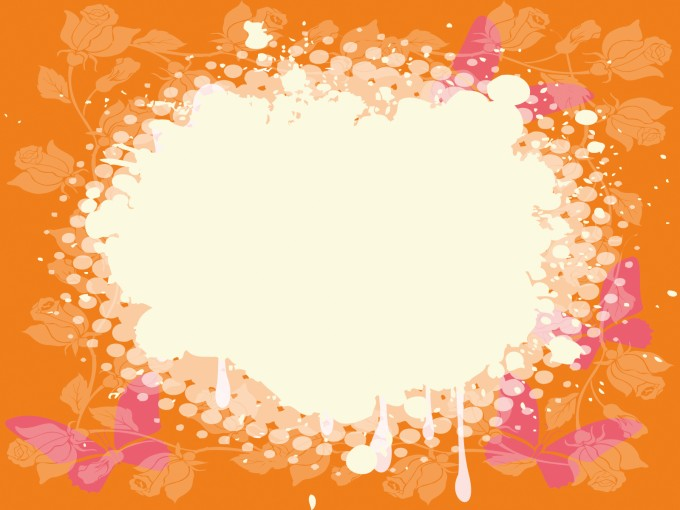 Pink and orange butterfly frames PPT Backgrounds
