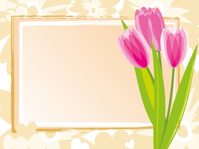 Pink tulips frame template PPT Backgrounds
