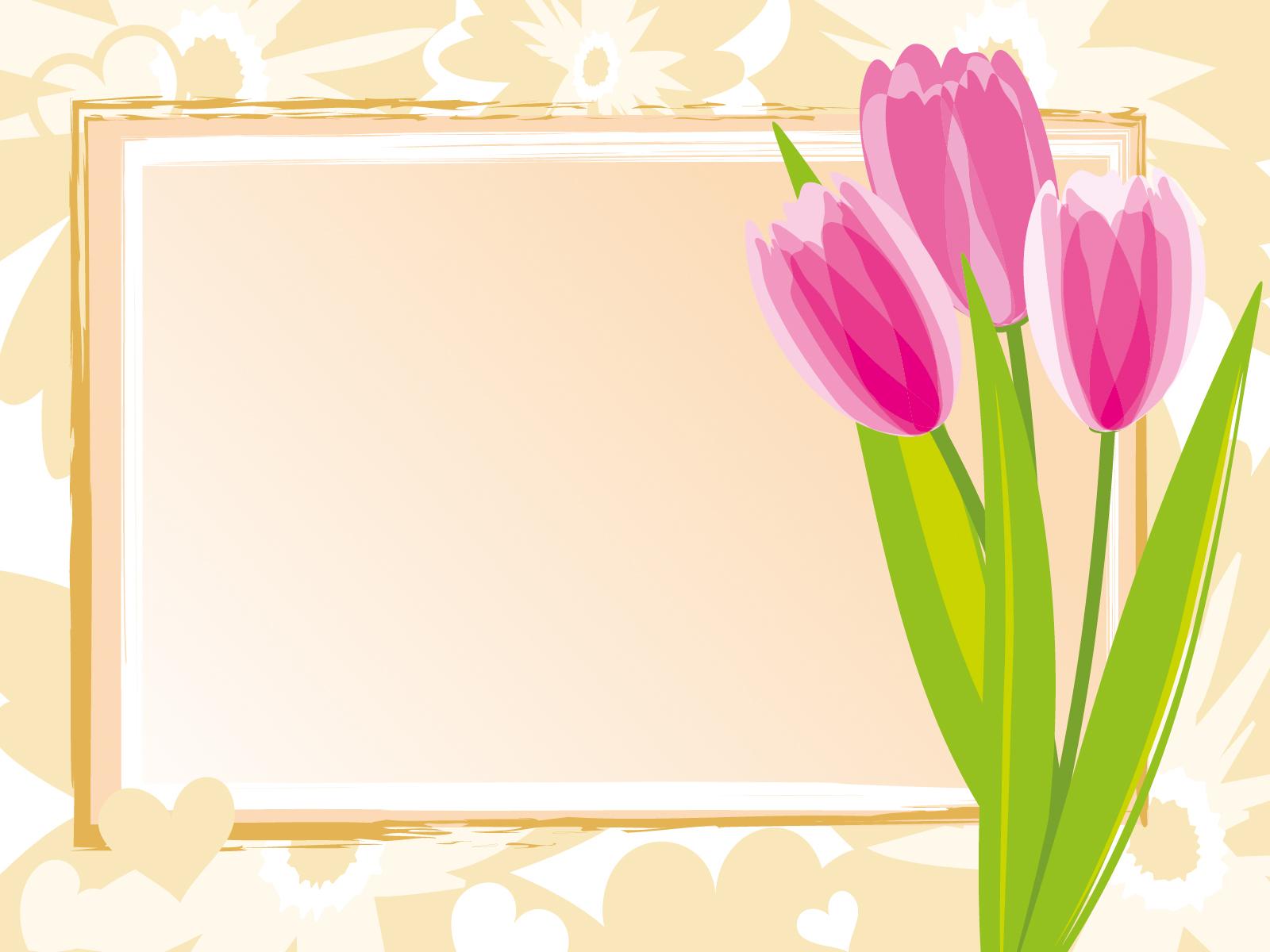 Pink Tulips Frame Backgrounds Border Amp Frames Flowers