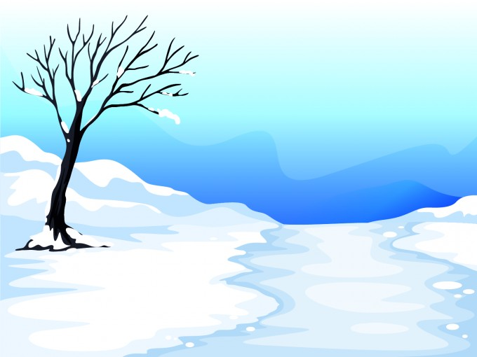 Snow and Tree Illustration PPT Backgrounds