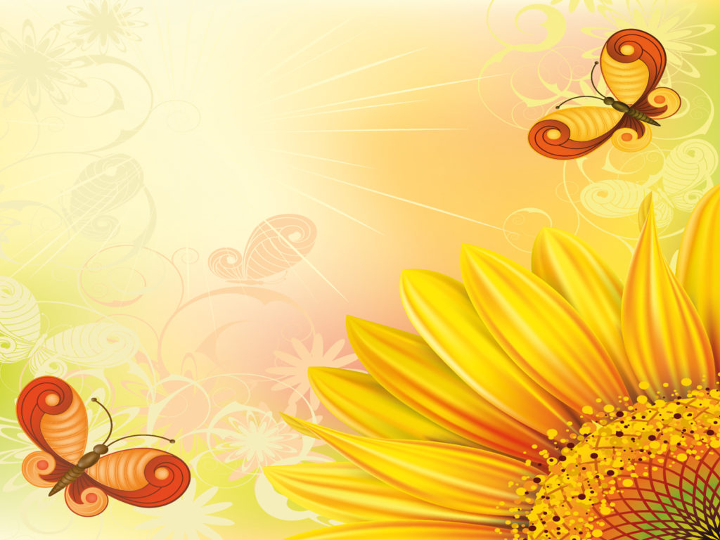 Sunflowers with bees and butterflies Backgrounds - Flowers, Nature ...
