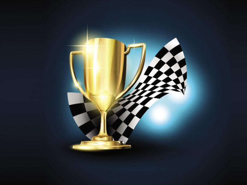 Cartoon golden trophy with checkered flag