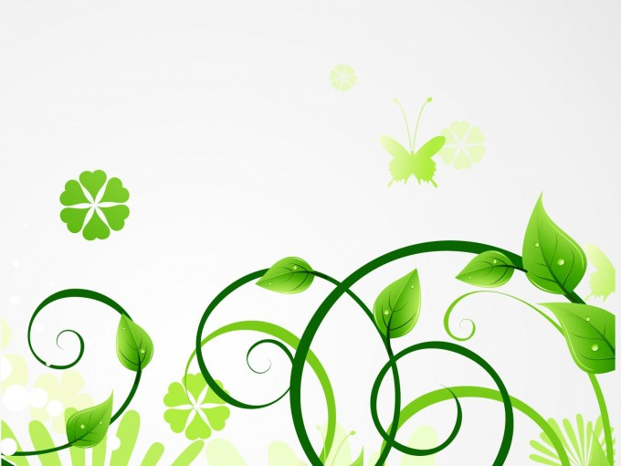 Fresh green eco leaves PPT Backgrounds