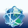 Globe with satellites around powerpoint