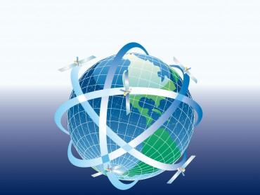 Globe with satellites around
