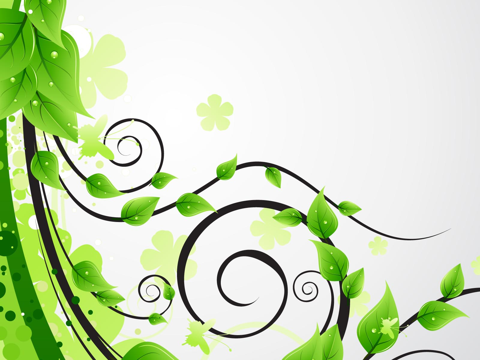Green floral leaves ppt backgrounds