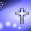 Iceblue Glowing Cross PPT Backgrounds