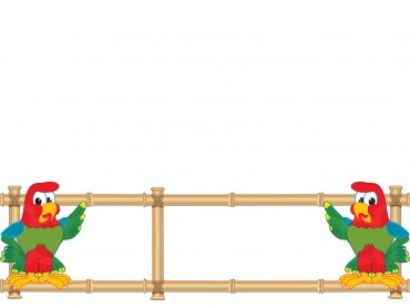 Parrot mascot with bamboo banner