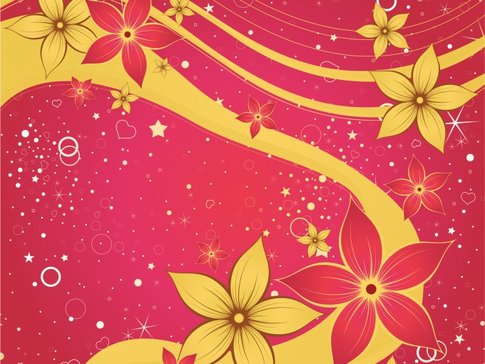 Red Silk Flower Design PPT Backgrounds