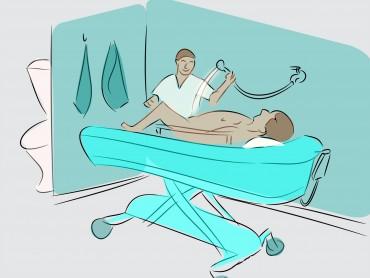 Shower Trolley in Hospital