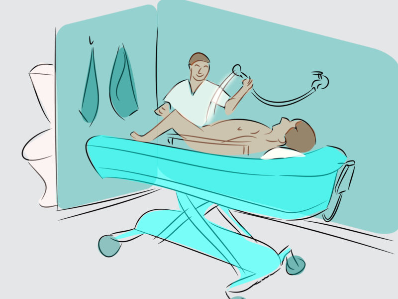 Shower Trolley in Hospital Backgrounds