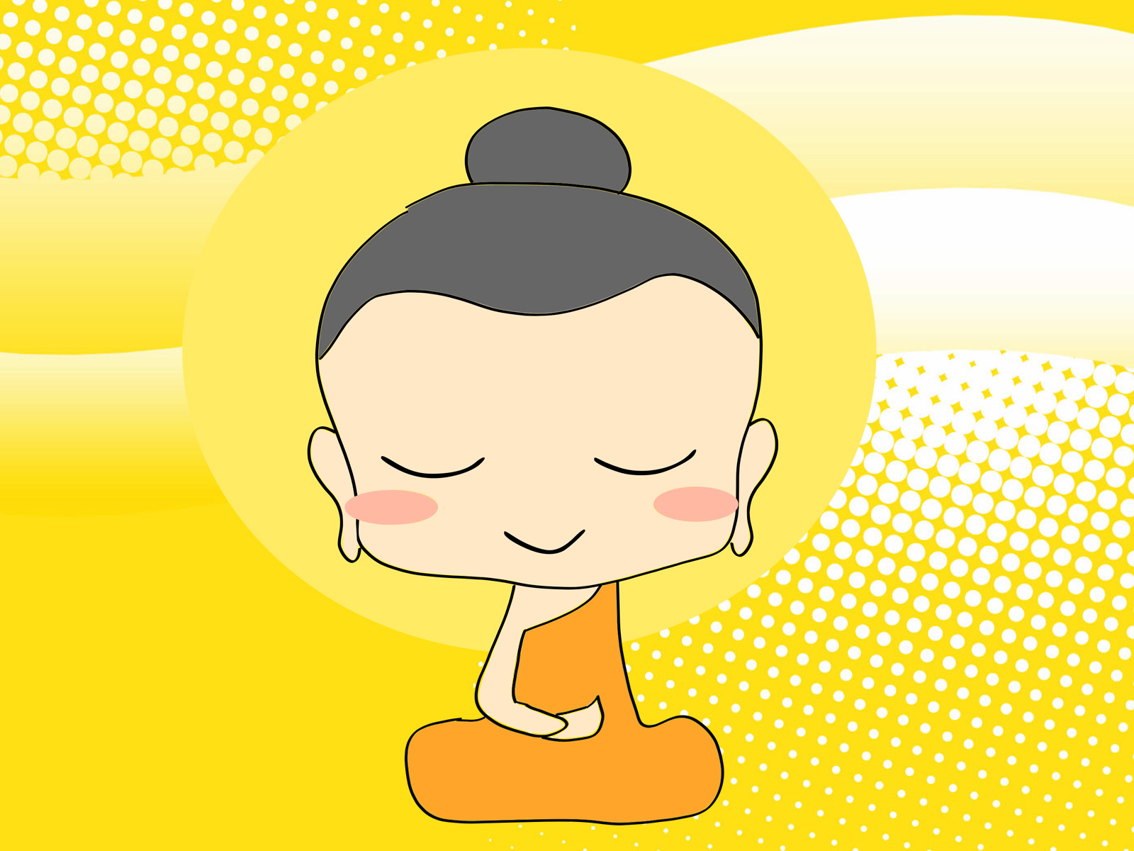 Chibi Buddha Religion Backgrounds Religious Yellow