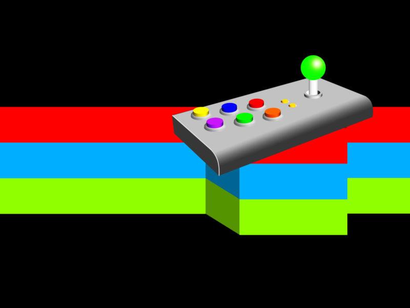Retro Arcade Joystick Game PPT Backgrounds