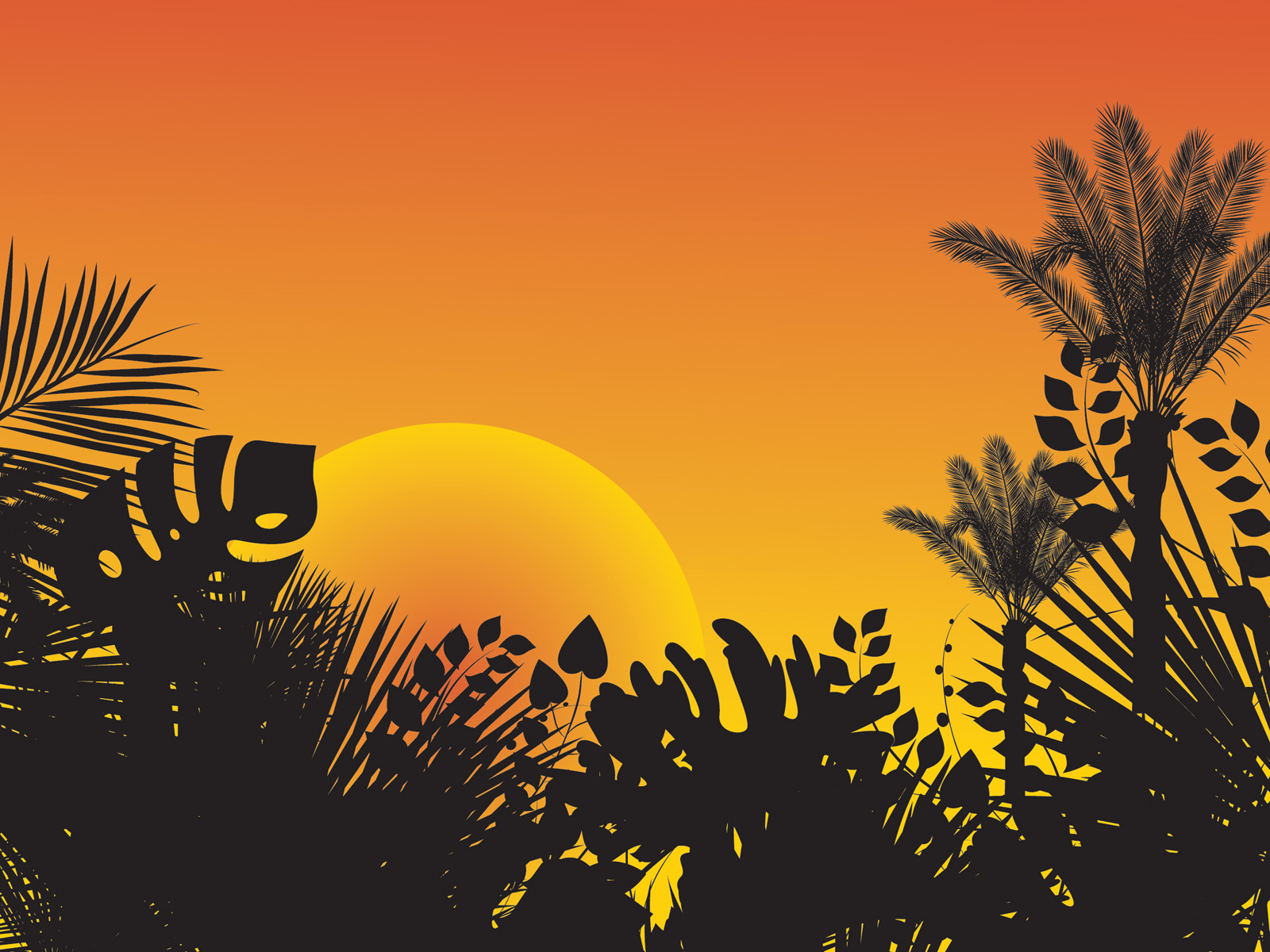 Tropical Sunset Design PPT Backgrounds - Design Templates