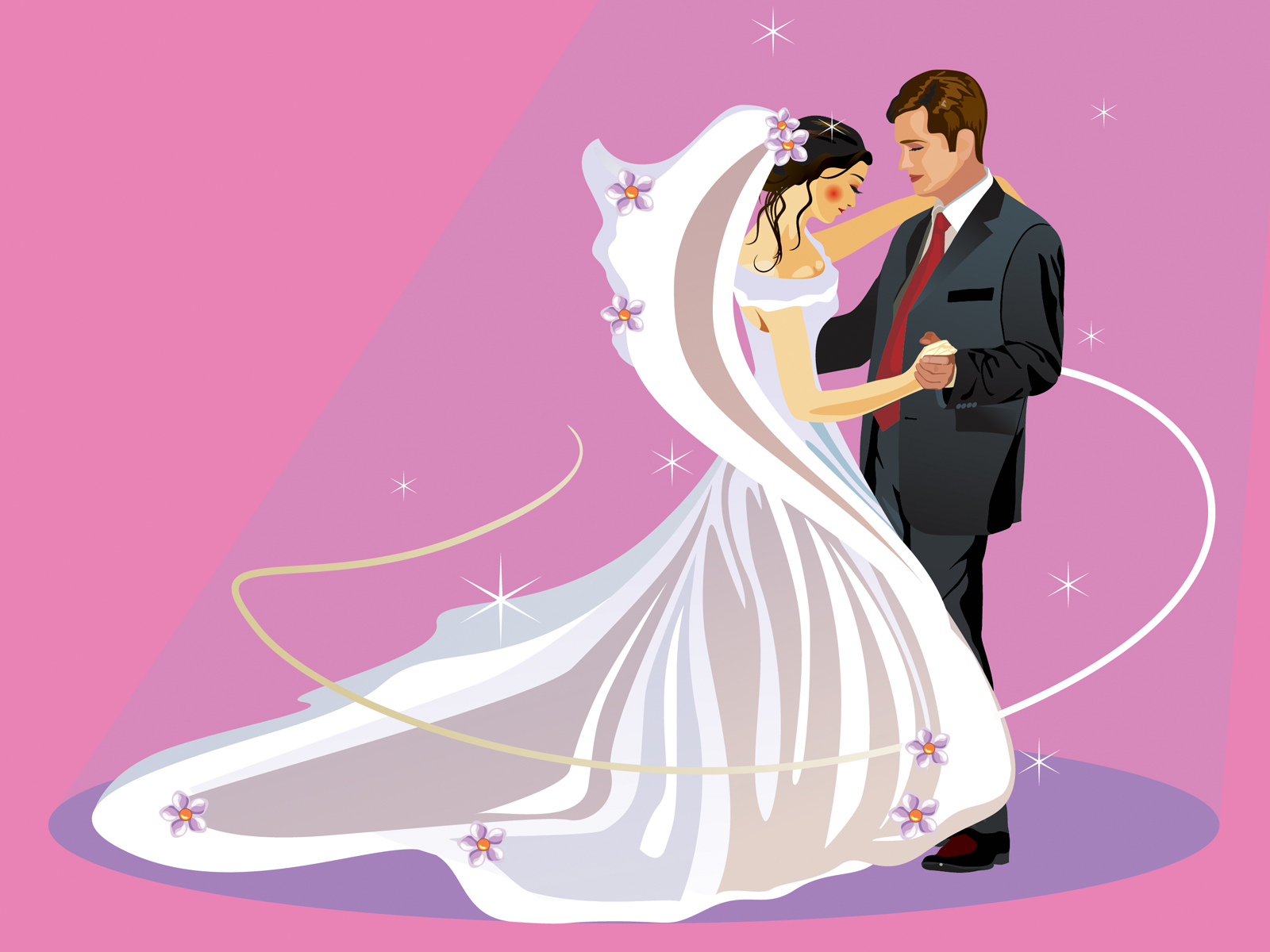 Young Wedding with Dancing Backgrounds