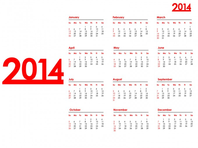 2014 Year Calendar PPT Backgrounds