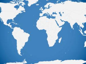 Blue World Map Powerpoint Templates