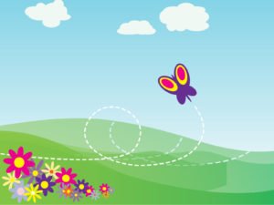 Cartoon Butterfly and Flowers Backgrounds
