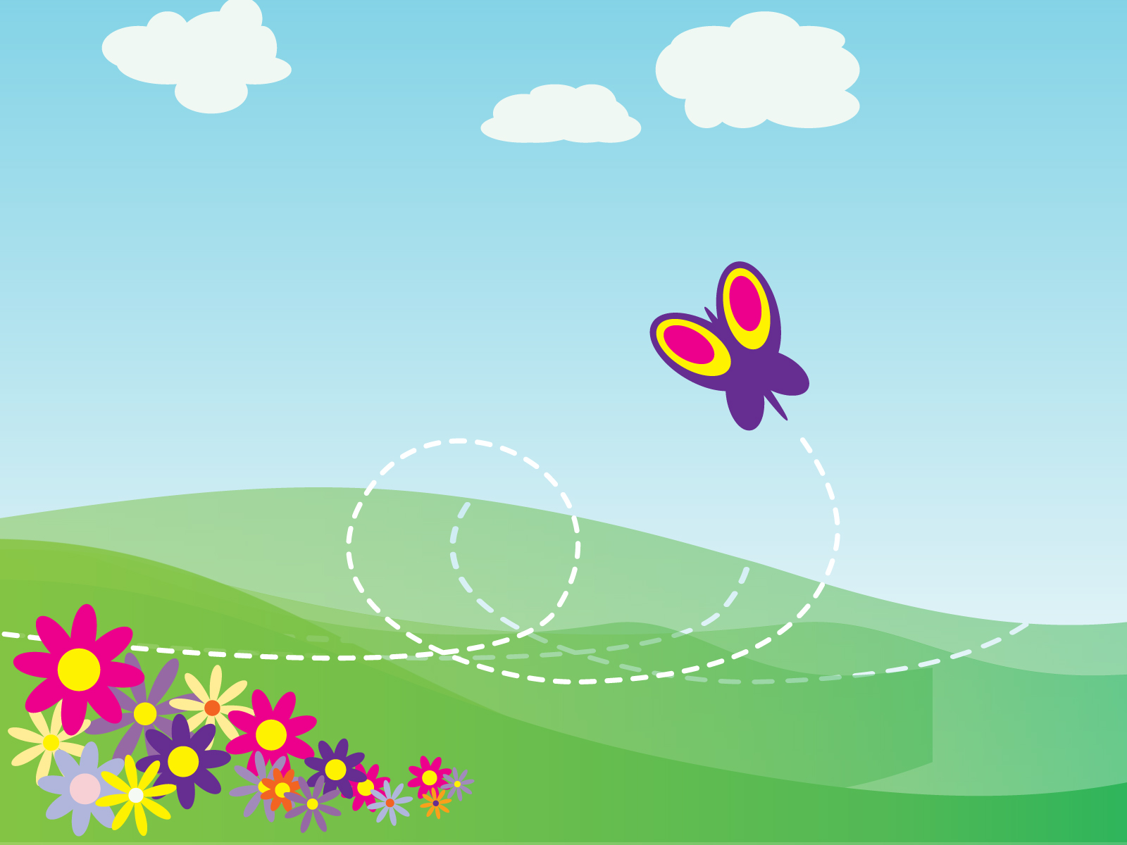 free ppt templates - cartoon butterfly and flowers backgrounds flowers