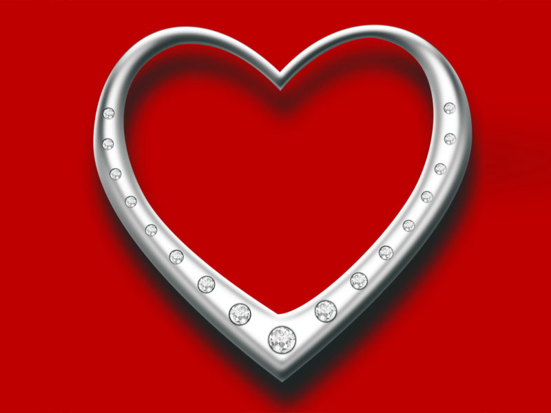 Heart with diamonds PPT Backgrounds
