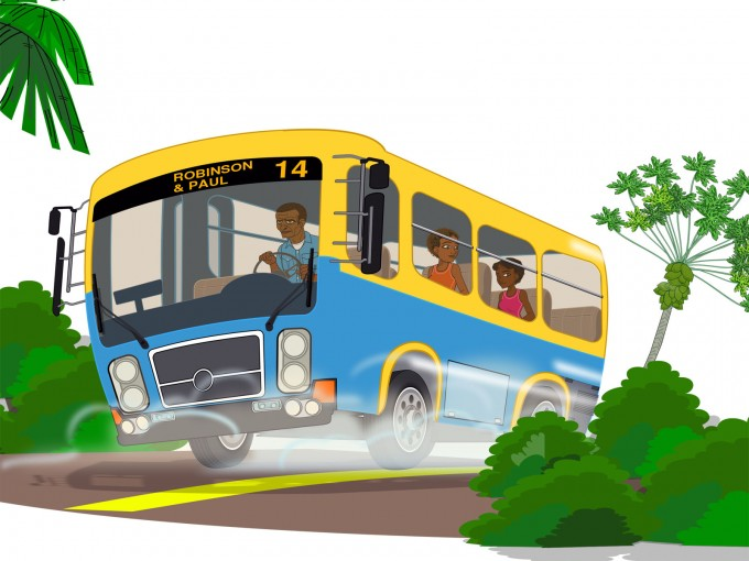 Island school bus PPT Backgrounds