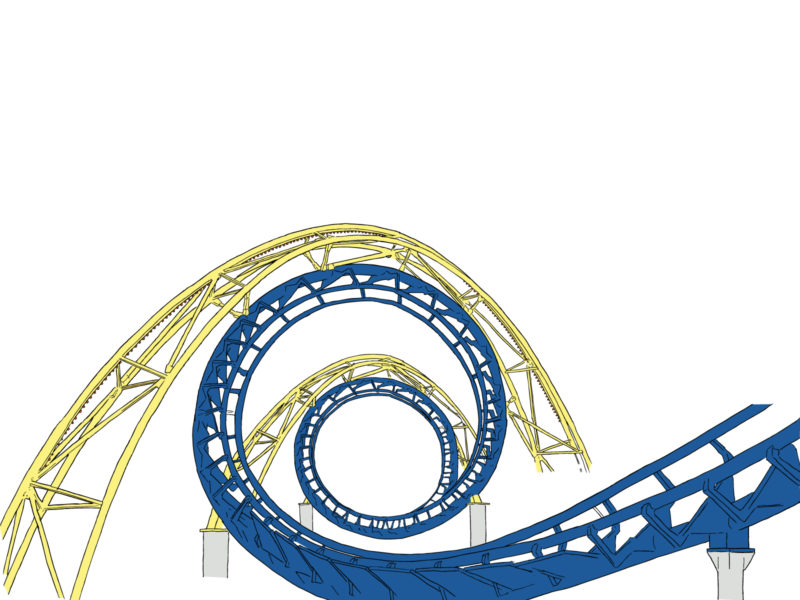 Roller Coaster Tracks PPT Backgrounds