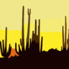 Saguaro Cactus At Sunset Arizona Backgrounds PPT