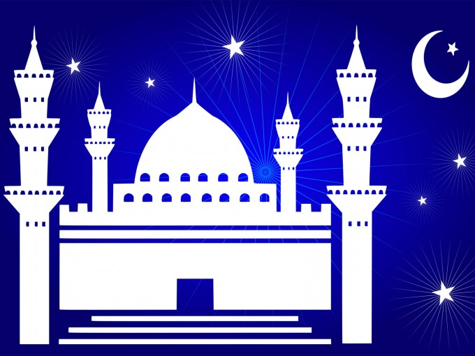 Beautiful Mosque with Stars PPT Backgrounds