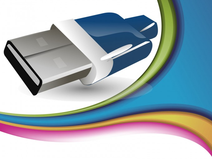 Blue USB Device Connector PPT Backgrounds