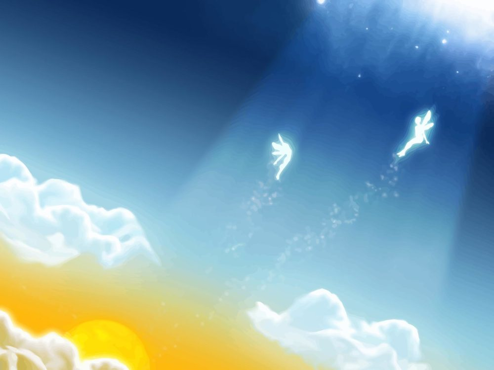 Fairytale sky clouds backgrounds 3d templates free ppt for Fairy tale powerpoint template free download