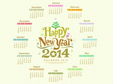 Happy New Year 2014 Calendar