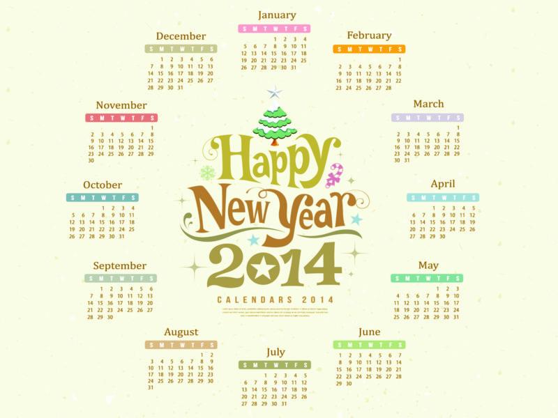 Happy New Year 2014 Calendar