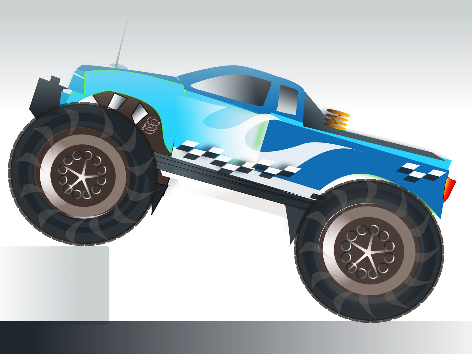 Monster Truck Stunt Powerpoint Vector